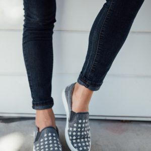 Dancing with Stars embroidered Slip on Sneaker- Navy
