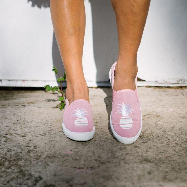 Signature Glitter Pineapple sand denim wash Slip-on Sneaker