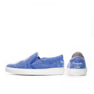 Signature Glitter Pineapple Slip-on Sneakers- Denim