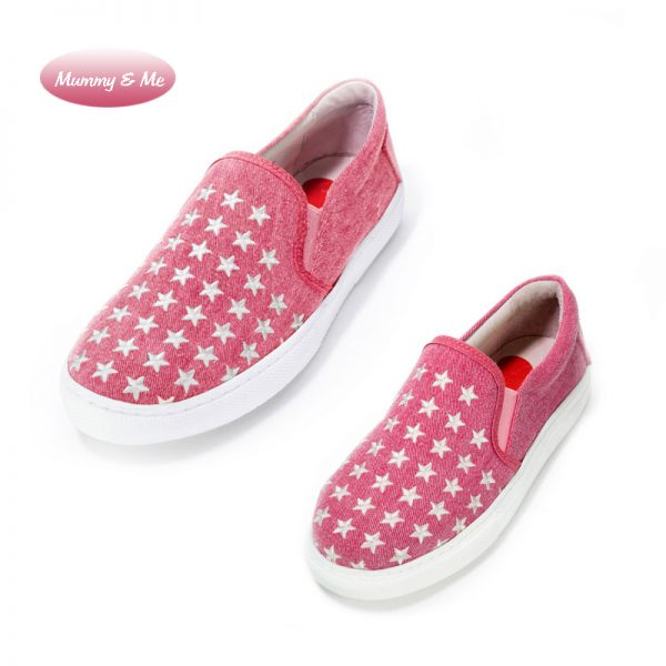 Mummy & Me – Dancing with Stars embroidered Slip on Sneaker- Pink