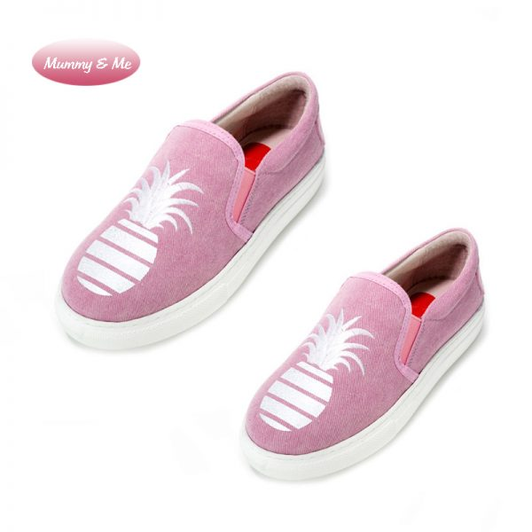 Mummy & Me- Signature Glitter Pineapple Slip-on Sneakers- Pink