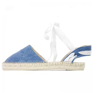 Lace me up blue denim wash espadrilles