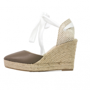 Brown textured-leather espadrille wedges