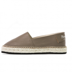 Brown texture leather espadrilles