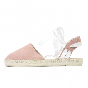 Lace up suede pink espadrilles