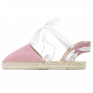 Lace me up pink denim wash espadrilles