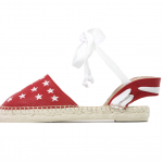 Lace me up red stars textured leather espadrilles