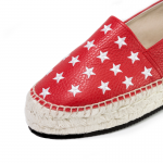 Dancing with stars red textured-leather platform espadrilles