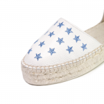 Lace me up white stars texture leather espadrilles