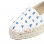 Dancing with stars white textured-leather platform espadrilles